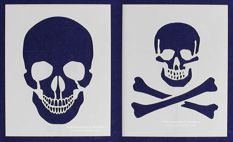 "Large Skull 2 Piece Stencil Set 14 Mil 8"" X 10"" Painting /Crafts/ Templates"