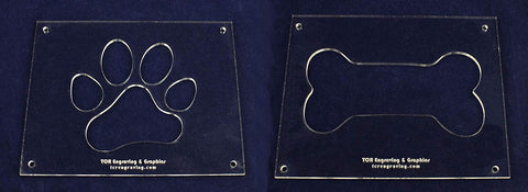 "EXTRA Large Dog Bone - Paw Print Templates - 2 Pieces of 1/4"" Acrylic - Painting /Crafts"
