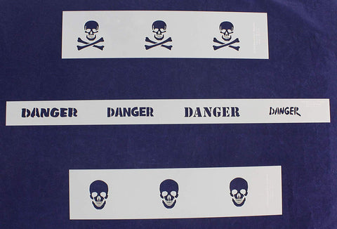 Skulls and Danger 3 Piece Border Stencil Set