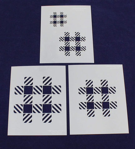 Gingham Check Stencils Mylar 3 Pieces of 14 Mil 8 X 10 Inches -