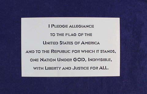 "Pledge of Allegiance-US 1 Piece Stencil-9"" x 15"" Painting/Crafts/Templates"