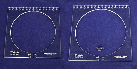 "2 Piece Inside Circle Set B--7"" & 8"" W/rulers ~1/4"" Thick - Long Arm- For 1/2"" Foot - Template"