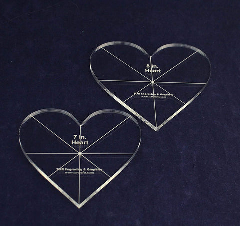 Heart Template 2 Piece Set. 7,8 Inches - 1/4 Inch Thick