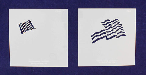 "Wavy US Flag in 2 Parts 8"" X 8"" Stencils- Mylar 2 Pieces of 14 Mil Painting/Crafts/Template"