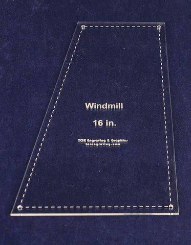 "Windmill Quilting Template- for 16"" Square Clear 1/8"""