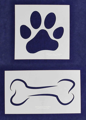 EXTRA Large Dog Bone - Paw Print Stencils -Mylar 2 Pieces of 14 Mil - Painting /Crafts