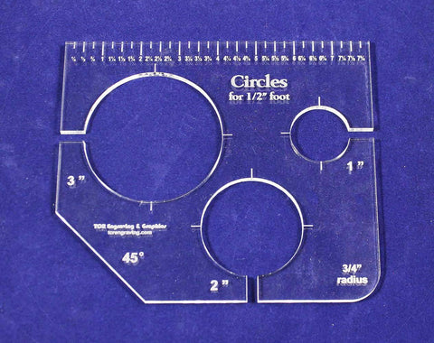 "3 Circles Template for 1/2"" Foot - Clear with Ruler 1/4"" Thick 1"", 2"", 3"""