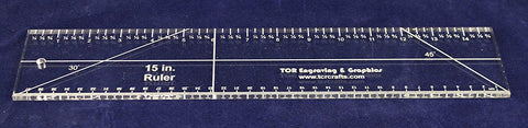 "15"" Ruler. Acrylic 1/4"" thick. Quilting/Sewing - Imperial/Metric - Template"