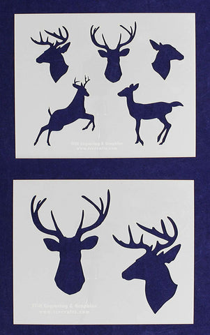 "Deer- 2 Pieces-Stencil -Mylar 14 Mil 17.5"" H X 14"" W - Painting/Crafts/Template"