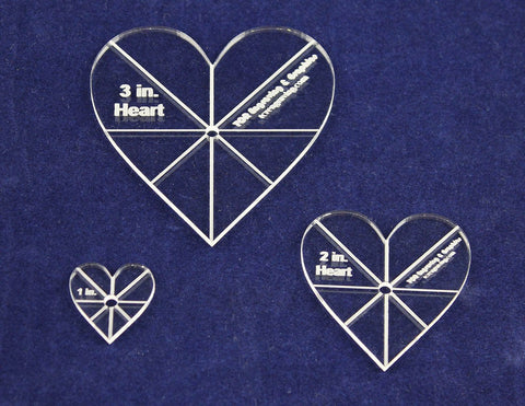 "Heart Template 3 Piece Set. 1"",2"",3"" - Clear 1/8"" Thick w/ guidelines"