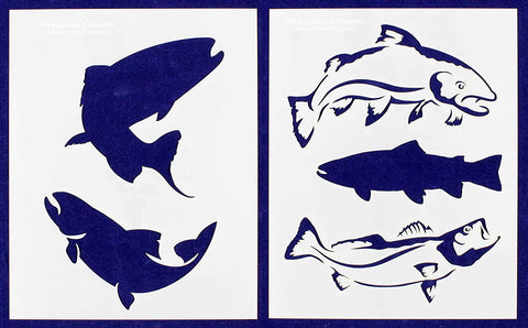 "Trout Fish Stencils 8"" X 10"" Mylar 2 Pieces of 14 Mil - Painting /Crafts/ Templates"