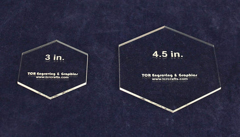 "2 Pc Actual Size Hexagon Set -3"" and 4.5""- 1/8"" Thick"