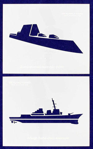 "U.S. Navy Ships-Destroyers- 2 Piece Stencil Set 14 Mil 8"" X 10"" Painting /Crafts/ Templates"