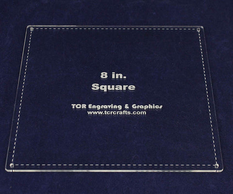 "Square Template 8""- Actual Size -with Seam - Clear 1/8"""