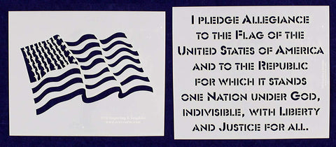 "2 Piece 8.5"" x 10"" Pledge & 8"" x 10"" Wavy Flag. T-shirt size-14 Mil Stencils Painting /Crafts"