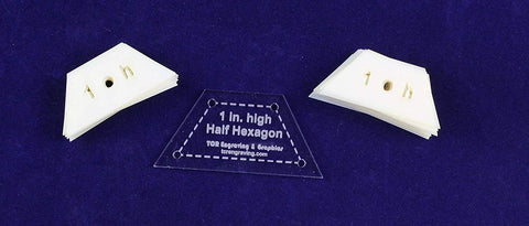 "Mylar 1"" High-Half Hexagon 51 Piece Set - Quilting / Sewing Templates"