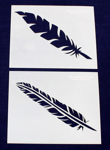 Large Feather Stencils - 2 Piece Set - 8 X 10 Inches