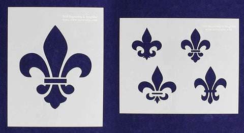"Mylar 2 Pieces of 14 Mil 8"" X 10"" Fleur-De-Lis Stencils- Painting /Crafts/ Templates"