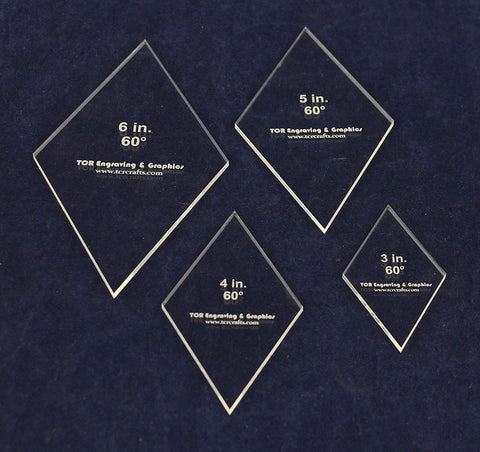 Diamond Templates 4 Piece Set Actual Size 3, 4, 5, 6 Inches - 60 1/8 Inch Thick