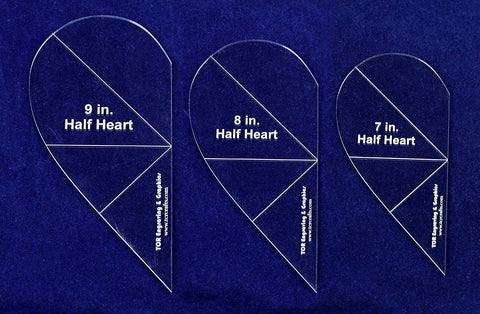 "Half Heart Template 3 Piece Set. 7"", 8"", 9"" - Clear 1/8"" Thick w/ Guidelines"