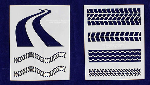 "Tire Tread Stencils-8"" X 10"" -2 Pieces of 14 Mil Mylar - Painting /Crafts/ Templates"