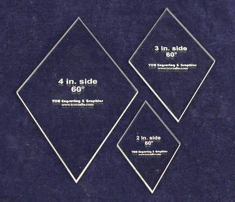 "Side Diamond Templates 3 Piece Set 1/8"" Thick"
