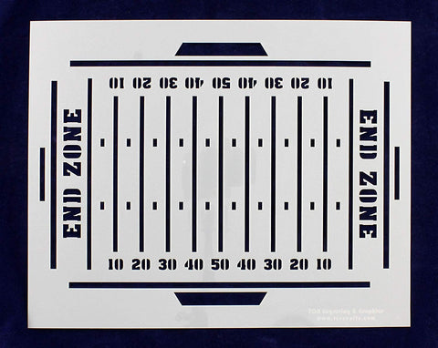 "Football Field Stencil- 12"" x 15"" -14 Mil Painting /Crafts/ Templates"