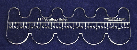 "11"" Scallop Ruler --Template 1/4""- Clear Acrylic - Quilting/sewing"
