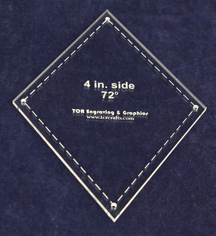 "Diamond Template 4"" Side- Clear 1/8"" 72 Degree"