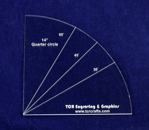 "Quarter Circle Template 14"" - Clear 1/4"" Thick-Quilting-Sewing"