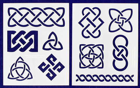 "Celtic Knot- 2 Pieces-Stencil -Mylar 14 Mil 17.5"" H X 14"" W - Painting/Crafts/Template"