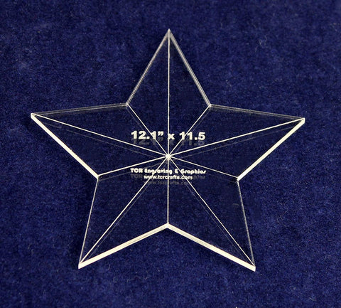 "Star Template 3 Piece 12.1"" x 11.5"" - Clear 1/8"" Thick w/ Guidelines & Center Hole"