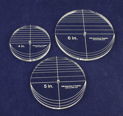 "3 Piece Circle Set - No Seam 4"",5"",6"" 3/8"" Thick - Long Arm -Multi Use"