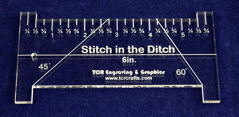 "6"" ""Stitch in the Ditch Ruler Template 1/4""- Clear Acrylic - Quilting/sewing"