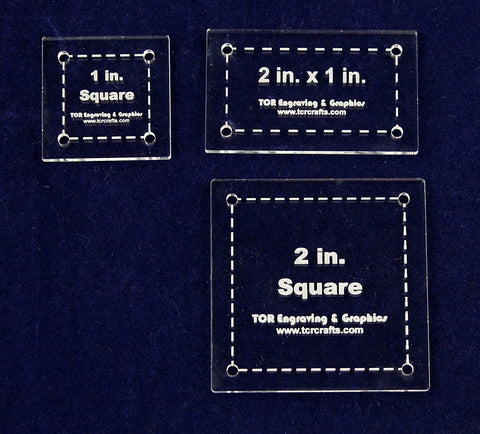 3 Piece Square/Rectangle Set - Special- Quilting templates