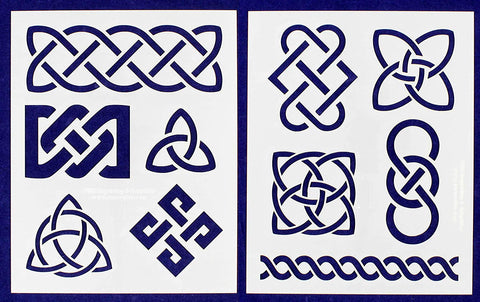 "Celtic Knot Stencils 8"" X 10"" Mylar 2 Pieces of 14 Mil - Painting /Crafts/ Templates"