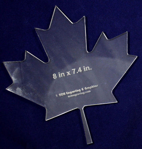"Maple Leaf Template 8""H X 7.4""W - Clear ~1/4"" Thick Acrylic-"