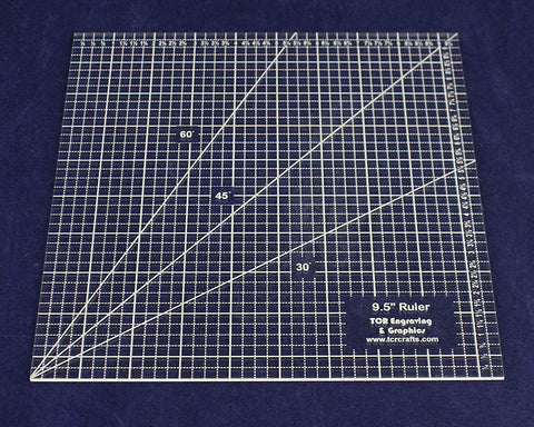 "Square Ruler 9.5"". - Clear Acrylic - Quilting/Sewing - Template 1/8"""