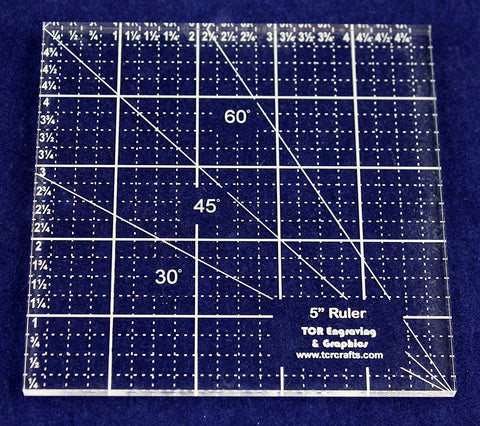 "5"" Square Ruler. Acrylic 1/4"" -Engraved on back side-Quilting/Sewing"