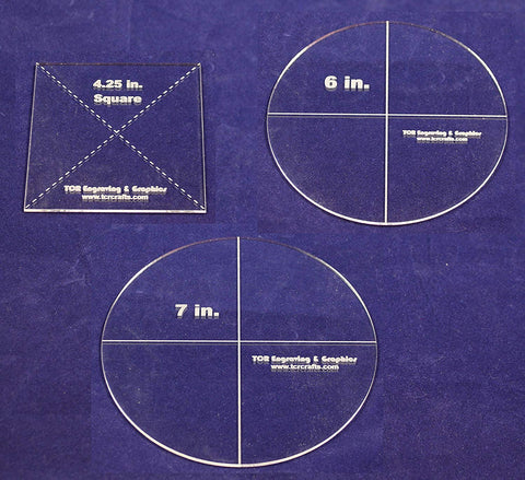 "3 Pc Set- Circle 7"", Circle 6"", Square 4.25"" - Clear 1/8""- Quilting Templates"