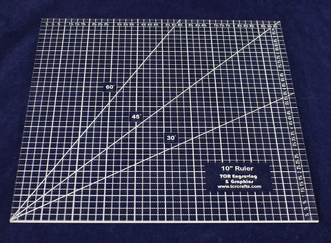 "Square Ruler 10"". - Clear Acrylic - Quilting/Sewing - Template 1/4"""