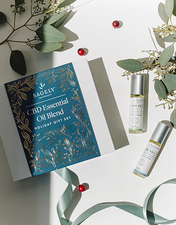 A picture of Sagely Naturals CBD Essential Oil Gift Set containing the Drift & Dream CBD Roll On and the Relief & Recovery CBD Roll On