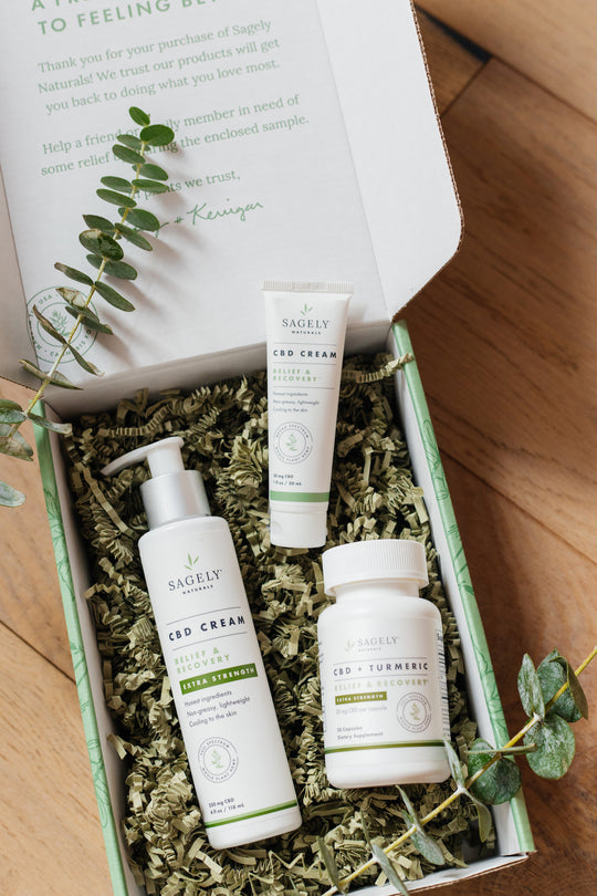 Sagely Naturals Relief & Recovery CBD Collection.