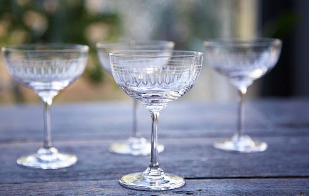 The Vintage List Set of Six Crystal Champagne Saucers with Oval Design