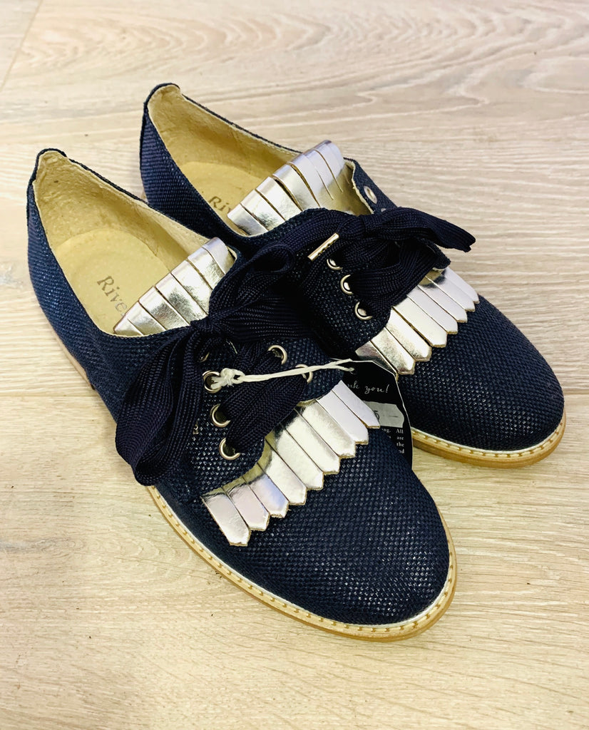 Riverwoods Navy & Silver Lace Ups