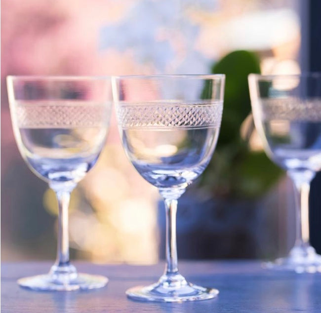The Vintage List Set of Six Crystal Wine Glasses with Band Design