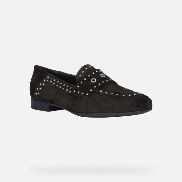 Geox Black Suede Loafers