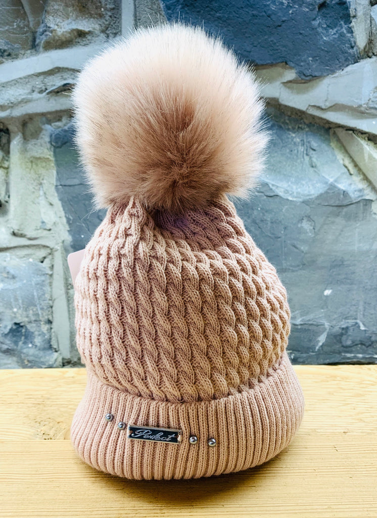 Perfect Mid-Pink Bobble Hat