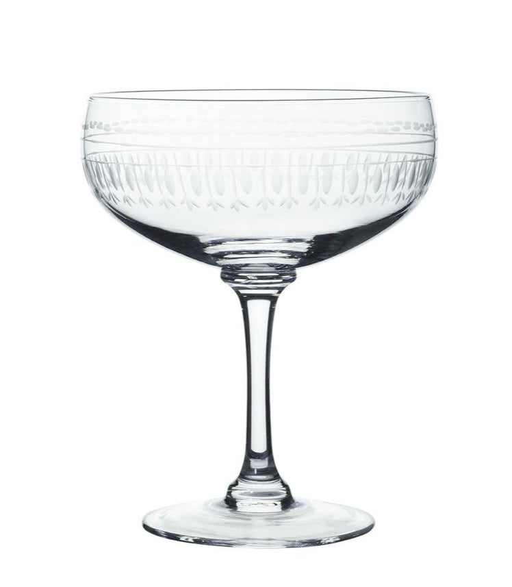 The Vintage List Set of Four Crystal Cocktail Glasses with Oval Design