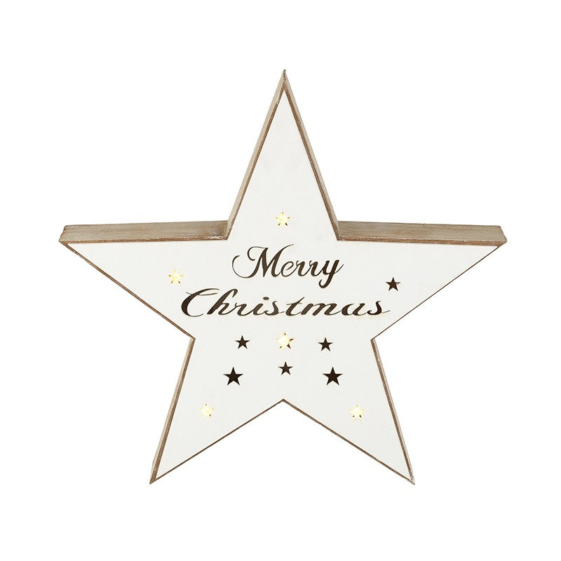 White Merry Christmas Light up Star
